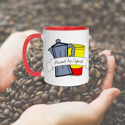 Powered by Cafecito Mug with Color Inside