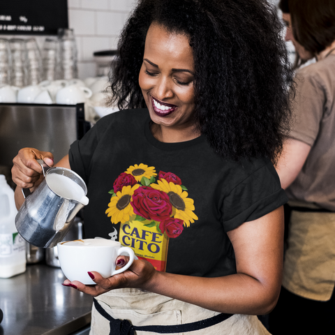 Cafe con Flores Short-Sleeve Unisex T-Shirt
