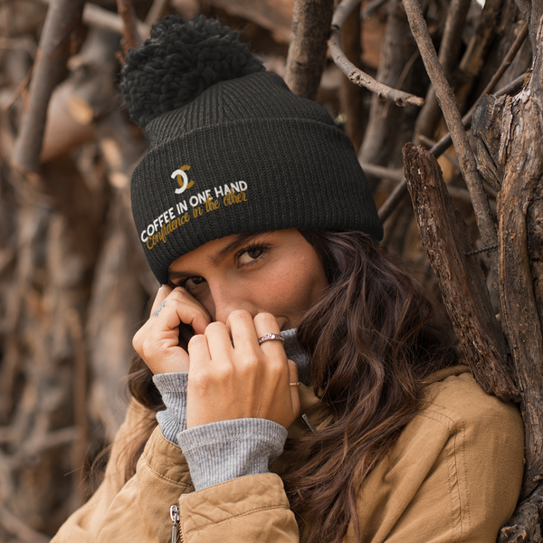COFFEE CONFIDENCE Pom Pom Knit Cap