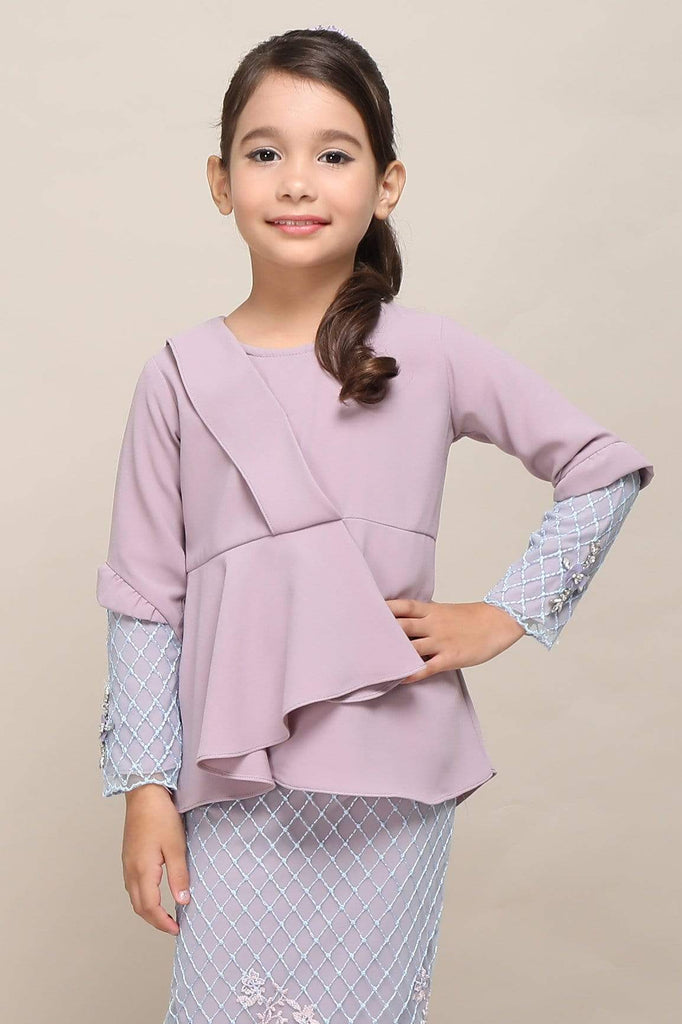 Rhea Embroiderred Lace Kurung Modern Kids - Zoffya
