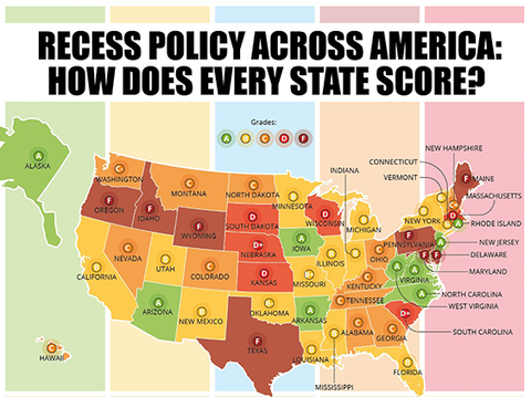 A graphic that shows a map of the United States. Each state is shaded a different color based on the grade they receive for their recess laws. It is titled, Recess Grades Across America: How Does Every State Score?