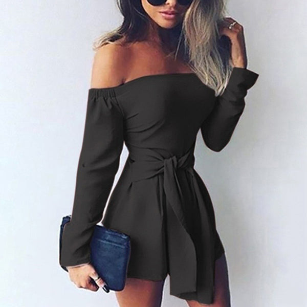 Womail bodysuit Women Summer Fashion Female Playsuit Off Shoulder Long Sleeve Overalls Shorts Rompers Jumpsuit fashion2019 M515
