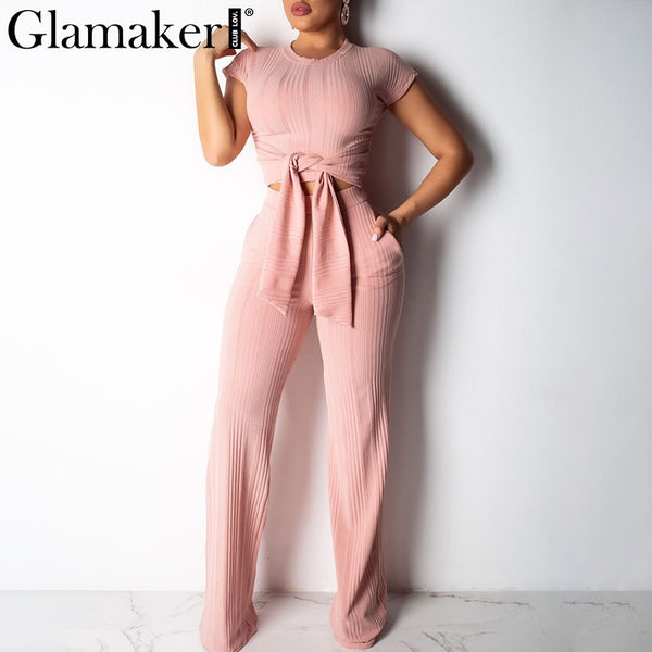 Glamaker Bodycon lace up black women jumpsuit pants autumn sexy pink fitness slim romper Female 2 piece suit party long playsuit