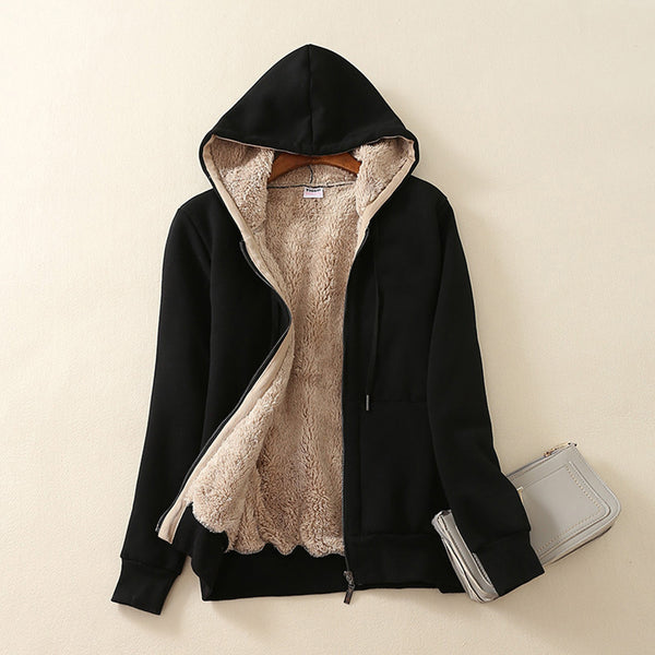 women's jacket coat fashion hoodie long sleeves winter jacket women solid Sherpa Lined thick Parka zipper coat clothes L30805