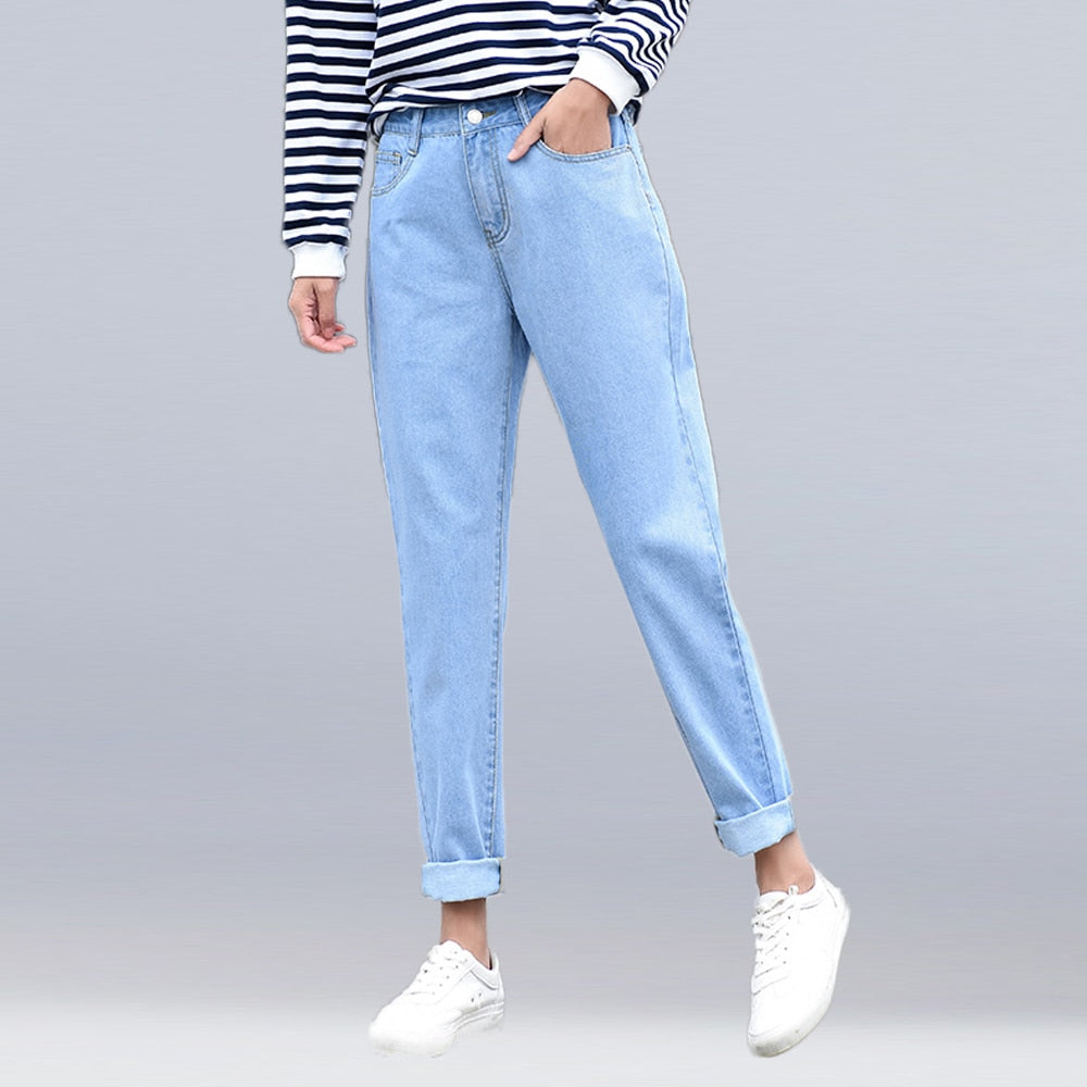 new women 2019 brand fashion jeans black white blue harem pants washed denim pants female loose casual jeans vintage mom jeans
