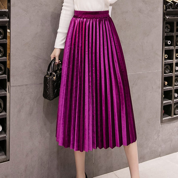 2019 Autumn Winter Velvet Skirt High Waisted Skinny Large Swing Long Pleated Skirts Metallic Plus Size Faldas Saia Fashion Femal