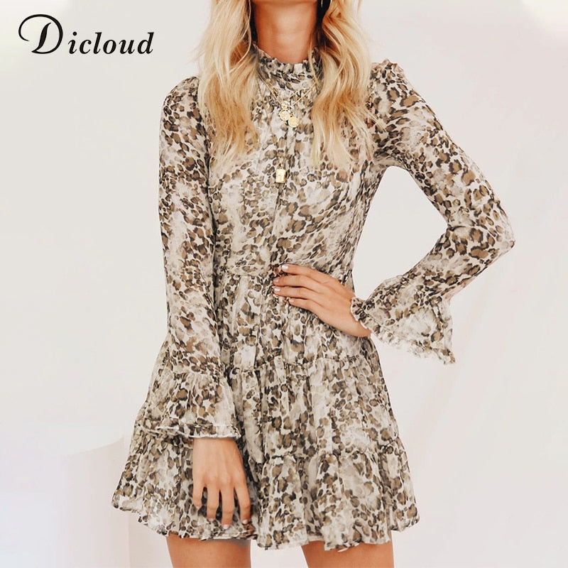 DICLOUD Leopard Print Turtleneck Chiffon Dress for Women 2019 Autumn Winter Long Sleeve Mini Party Dress Sexy Clothing Female