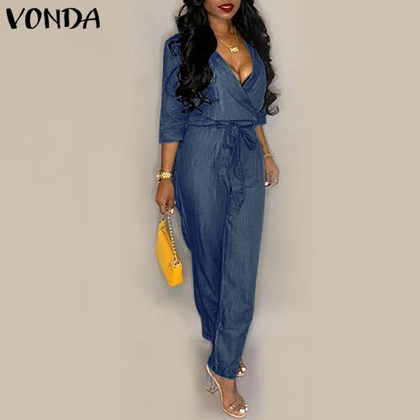 VONDA Denim Rompers Womens Jumpsuit 2019 Summer Sexy V Neck Playsuit Plus Size Pants Casual Loose Overalls Femme 2019 Oversize