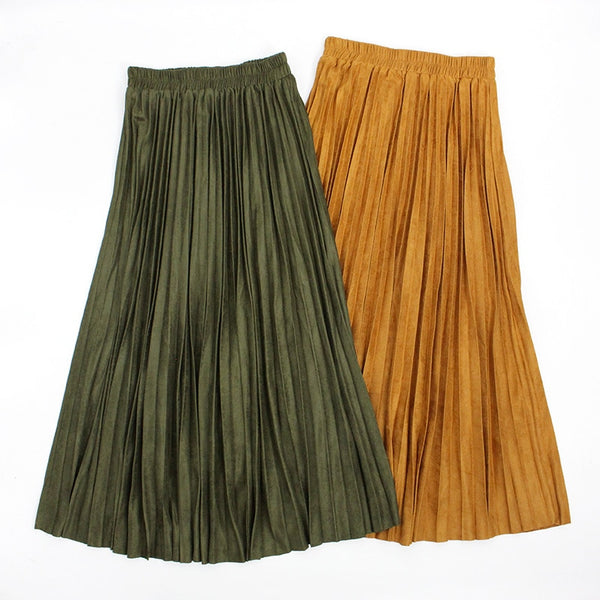 Autumn Winter Women Long Skirt Jupe Longue Suede Pleated Skirts a Line Maxi Khaki Skirt Elastic Waist Jupe Plissee Femme