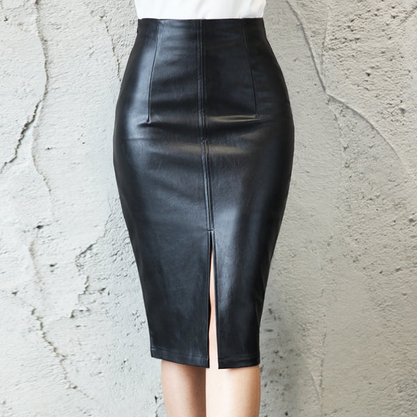Black PU Leather Skirt Women 2019 New Midi Sexy High Waist Bodycon Split Skirt Office Pencil Skirt Knee Length Plus Size