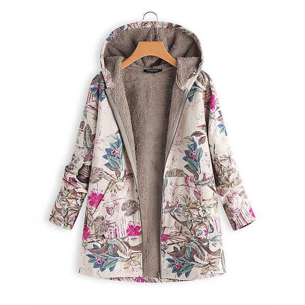 Women's printed hoodies winter new women's high-quality cotton and linen warm plush jacket large size casual loose shirt