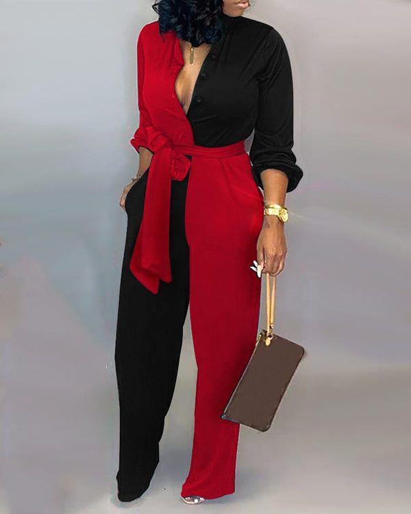 Colorblock Insert Buttoned Lantern Sleeve Jumpsuit Women Long Sleeves Deep V Neck Winter Autumn Patchwork Outfits Plus Size