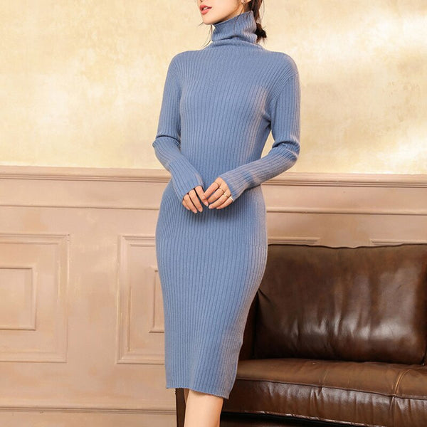 Top Grade Women Dresses 100% Cashmere Knitted Jumpers 2019 New Plus Long Dress Ladies Turtleneck Winter Sheath Pullovers