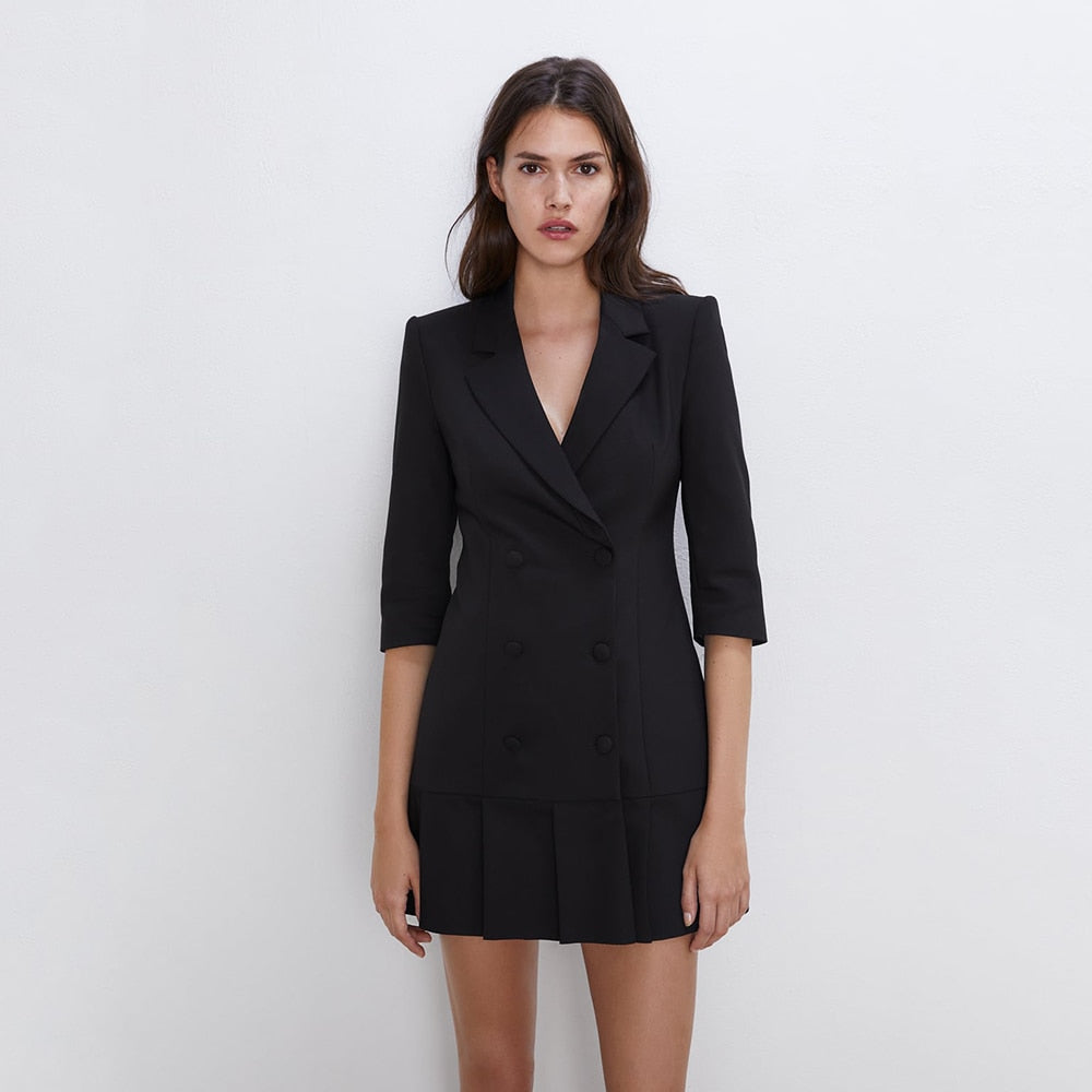 2019 ZA Black Blazer Mini Dress for Women Turn-Down Collar Shoulder Pad Buckle Closure Pleated Design Charm Autumn Style Dress