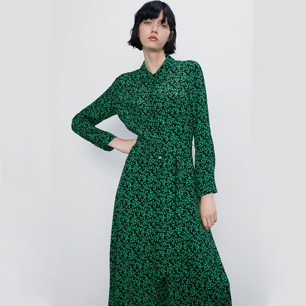 Trendy 2019 Summer/Autumn ZA Printing Dress Women Long Bohemian Korean Green Print Dress Friends/Girls Gifts Beach Party Newest