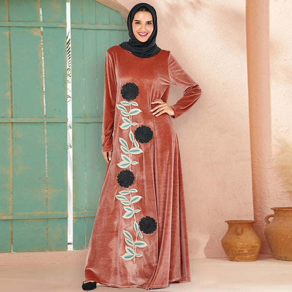 Siskakia Plus Size Long Dress Winter 2019 Velvet Embroidery Casual Muslim Dresses O Neck Long Sleeve Arabian Wears Thick Pink