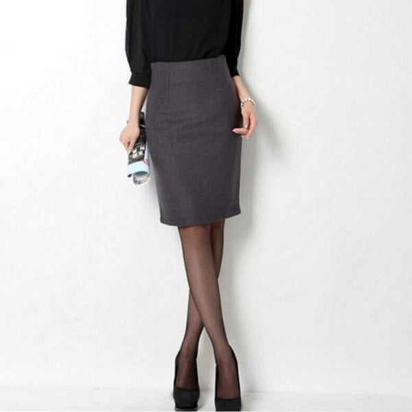 New 2019 Women Autumn Winter Skirt Ol Office Woolen Skirt High Waist Pencil Skirt Black Gray Formal Skirts For Women S440
