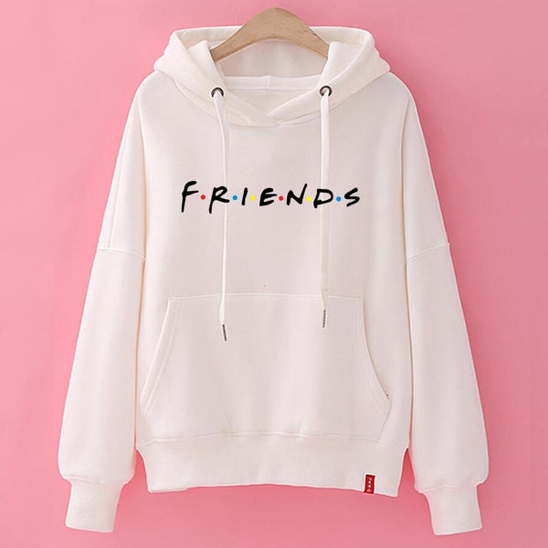 women white hoody ladies friends hoodies woman printed cotton sweatshirts pullover kpop korean style vintage hoody