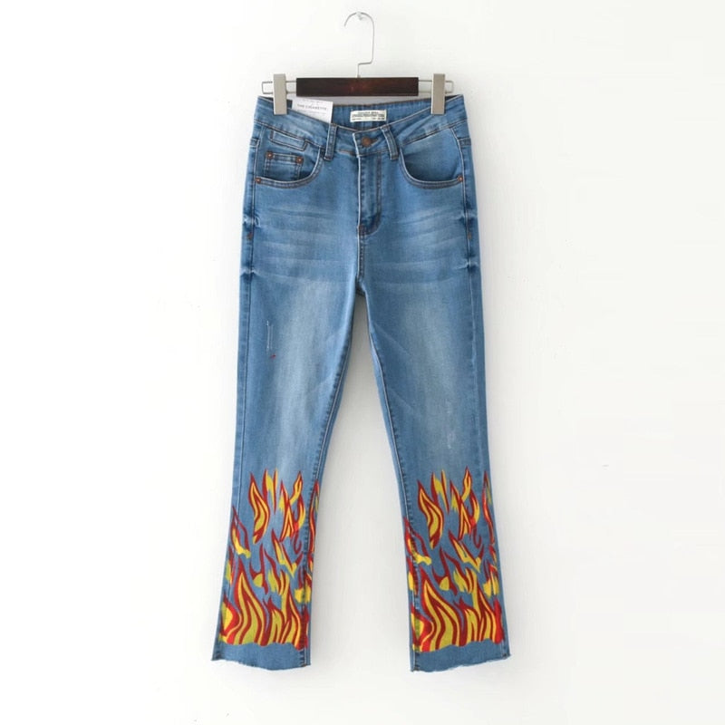 2017 new European and American  fashion flame printed elastic waist horn jeans women