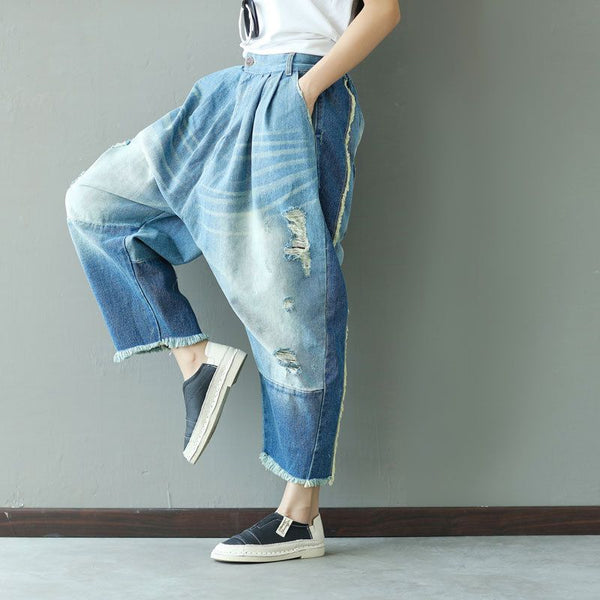 2017 New Casual Boyfriend Harem jeans women Spliced Ankle-length Drop Crotch pants Hippie Punk ripped Boho Cross Pants G060601