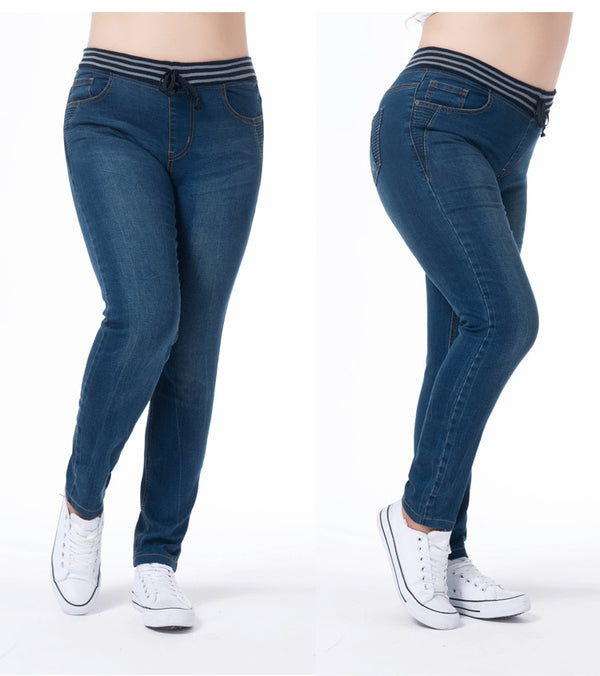 TUHAO Jeans Woman Large Size Women Plus Size Jenas 5XL 6XL 7XL Pencil Pants Elastic Waist Casual Trousers Cotton Blue PT25