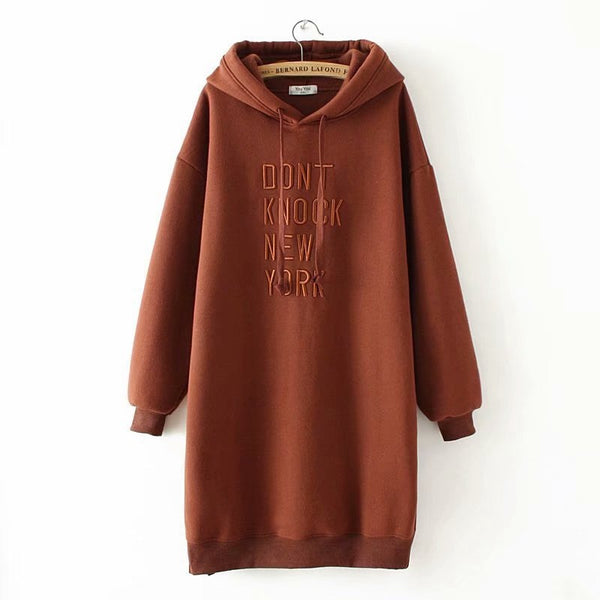 Women Loose Casual Hooded Sweatshirts Letters Long Sleeve Velvet Hoodie Dress Autumn Winter Plus Size Pullover Hoodies YY612
