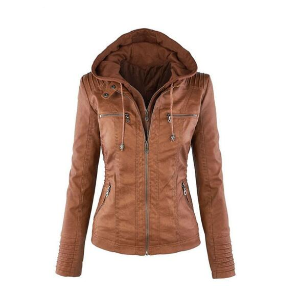 Hot autumn and winter women leather jacket zipper motorcycle leather coat short paragraph PU jacket large size coat 3XL-7XL