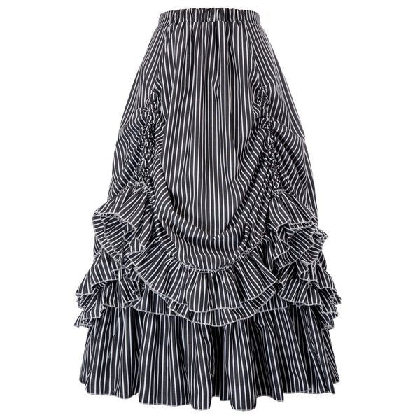 Retro Vintage Gothic Black & White Stripes Bustle Skirt pastel goth steampunk club party rockabilly skirts womens maxi skirt