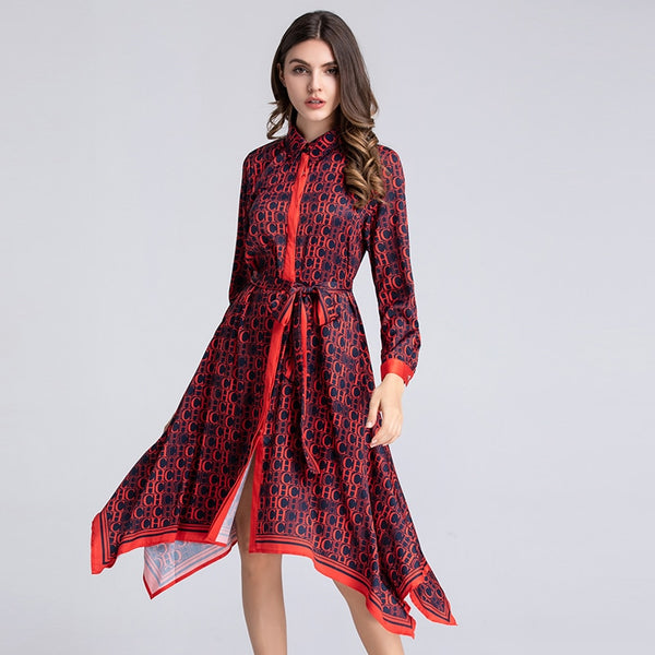 VERDEJULIAY Luxury Letters Printed Dresses 2019 Summer Runway Long Sleeve dress Turn down collar Irregular Shirt Dress Women XXL