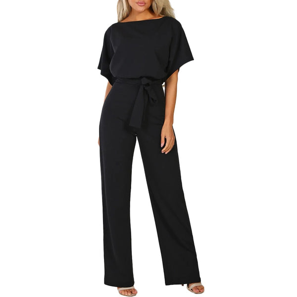 Rompers Jumpsuit Overalls For Women Elegant Office Style Short Sleeve Loose Straight Long Leg Sashes Kombinezony Vestido Femme