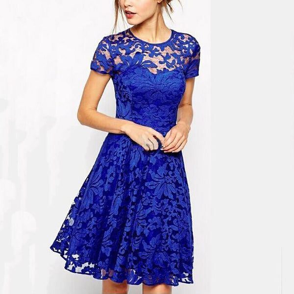 Sexy Print O-Neck Lace Dresses Women Vintage Short Sleeve Hollow Out Summer Dress Female Fashion A-Line Party Dress For Ladies