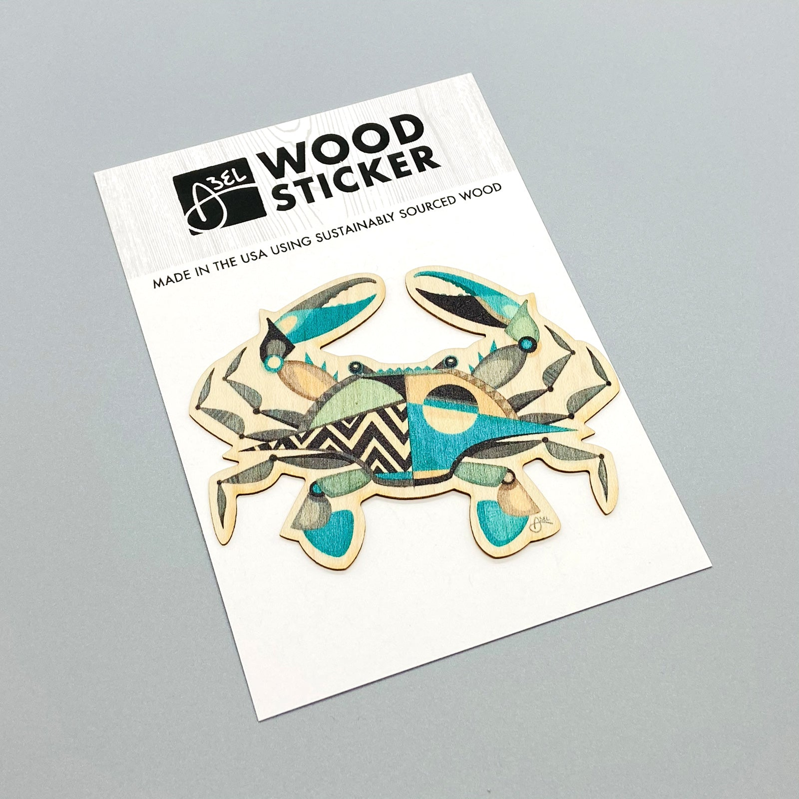 Wood Sticker: Blue Crabby