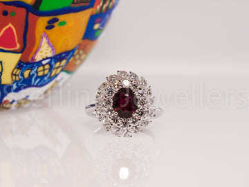 18ct w/g unheated Ruby & Diamond ring