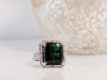 18ct w/g Tourmaline & Diamond ring