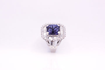 18ct W/G Tanzanite and Diamond ring