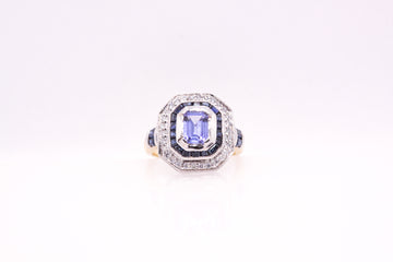 18ct y/g Tanzanite and Diamond ring