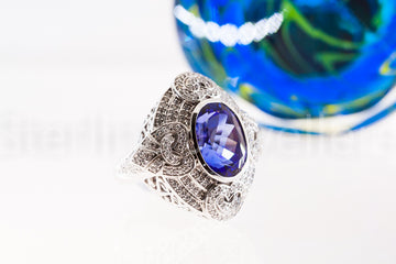 18ct white gold Princess Tanzanite ring