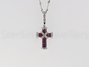18ct white gold Ruby & Diamond cross