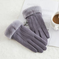 New Winter Female Lace Warm Cashmere  Women Touch Screen Driving Gloves 81C