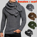 SWEATER+Gift Scarf Autumn Winter 2019 Men Long Sleeves Pullovers