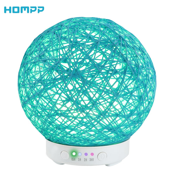 Aroma Essential Oil Diffuser 120ml Hemp Rope Ball Ultrasonic Cool Mist Humidifier 7Color LED Night Lights for Bedroom Study Yoga