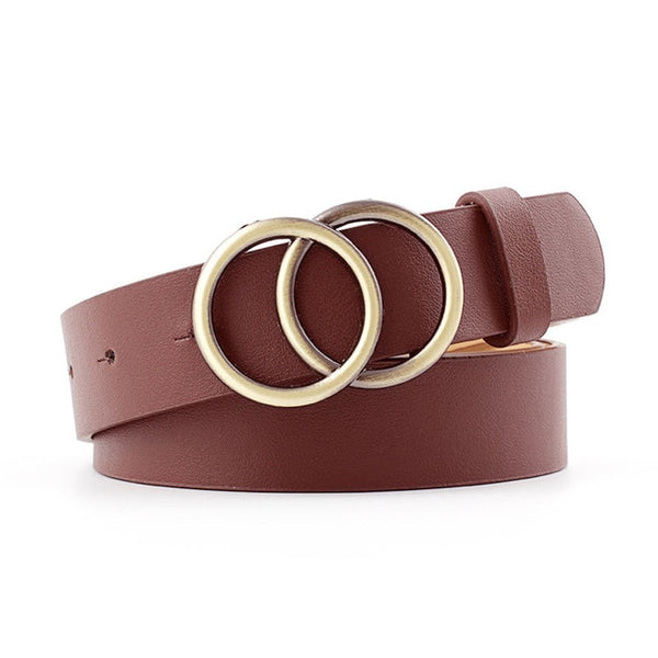 Women Soft Faux Leather Double Ring Buckle Vintage Belt