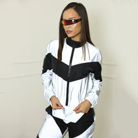 Women Tracksuits 2 Piece Set Reflective Zip Crop Top