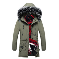 Winter Long Parkas Men Cotton Padded Brand Clothing full hood