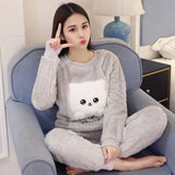 Autumn Winter Warm Flannel Women Pajama Sets
