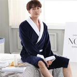 Men Casual Kimono Bathrobe Autumn Winter Flannel Long Robe