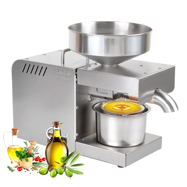 Automatic Oil Press Machine Home Oil Extractor for Hot Cold Olive Flax Peanut Castor Hemp Seed Sesame Sunflower Oil Expeller