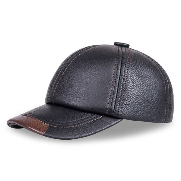 HL100  genuine leather men baseball cap