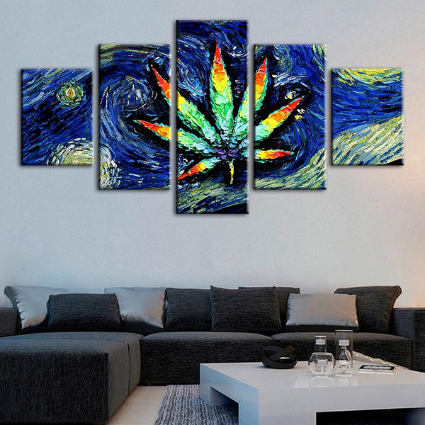 5 Pcs Abstract Leaf Hemp Painting Modern Wall Art Classic
