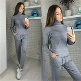 Casual  Knit Tracksuit Turtleneck Pullovers+pants